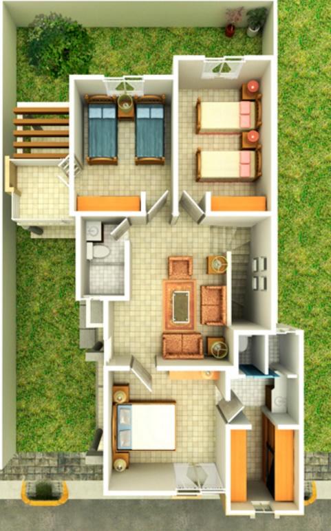 Planos de casas de un piso plano de casa pareada de piso for Planos de casas de 2 pisos