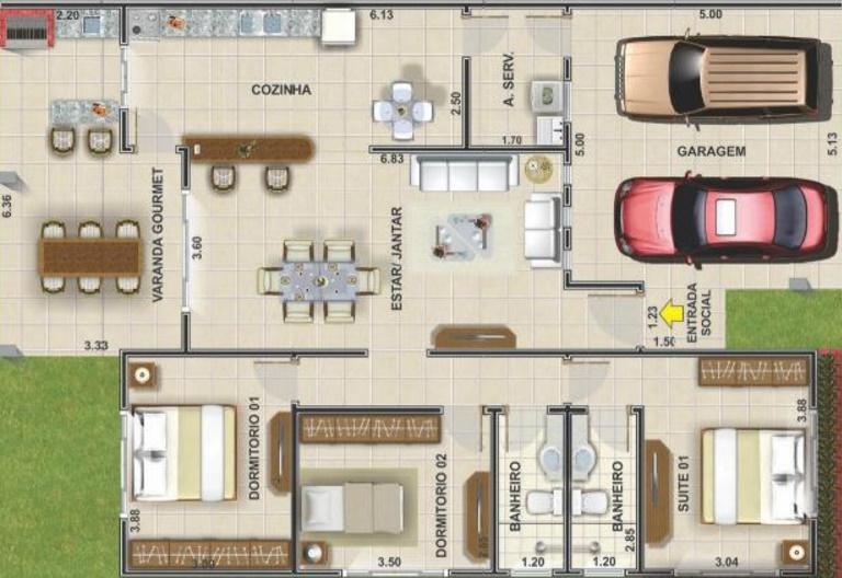 Plano de casa de tres habitaciones for Planos de casas medianas