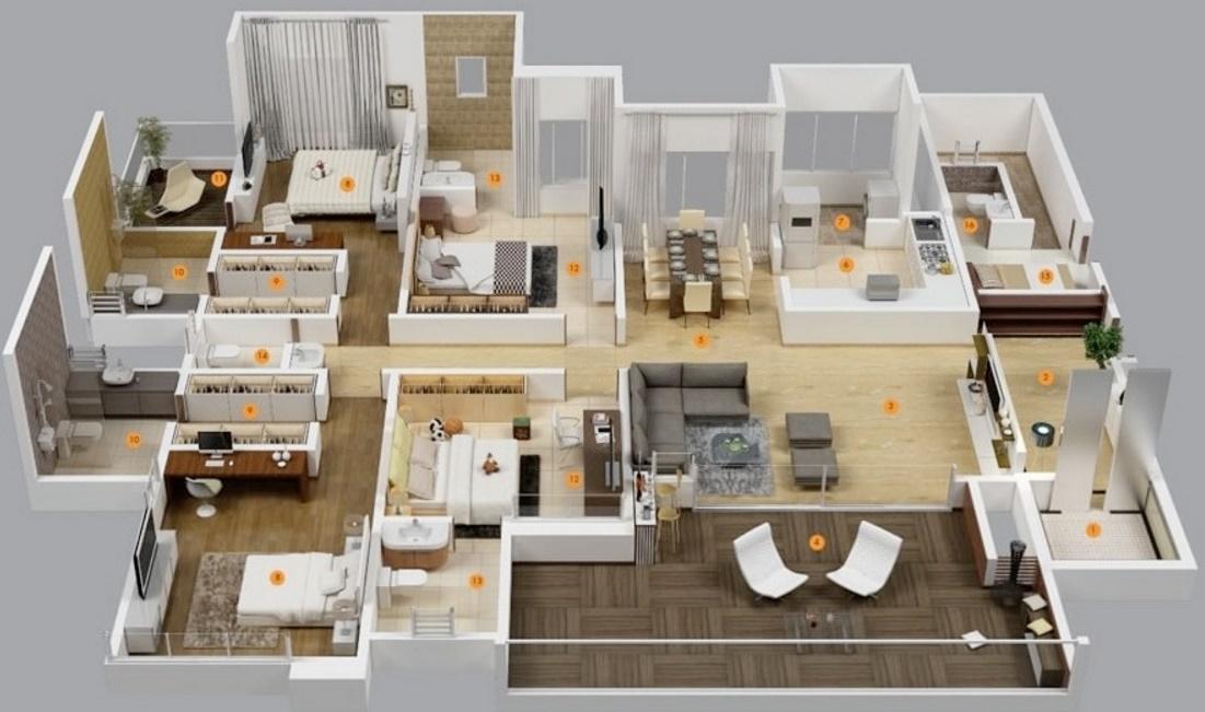 Planos departamentos for Planos de apartamentos modernos