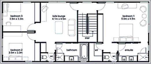 casa conceptual de 3 dormitorios