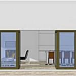 Plano de casa cuadrada y totalmente vidriada
