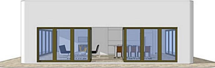 casa cuadrada y totalmente vidriada