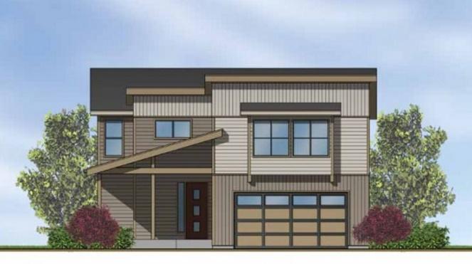 casa de madera de 3 dormitorios y 2 garajes