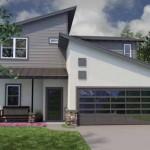Plano de vivienda unifamiliar moderna de 3 dormitorios