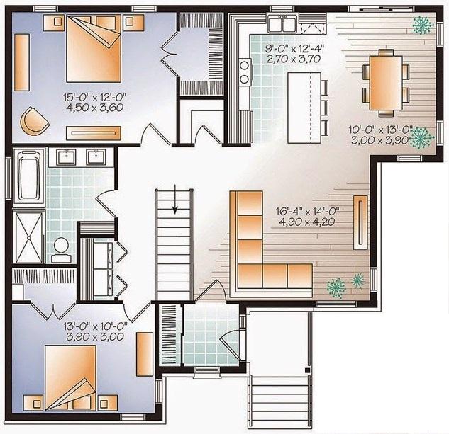 Diseño de casa moderna de un piso y 2 dormitorios