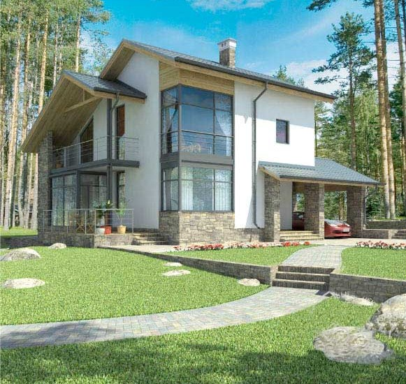 Fachadas de casas modernas pequeñas de dos pisos