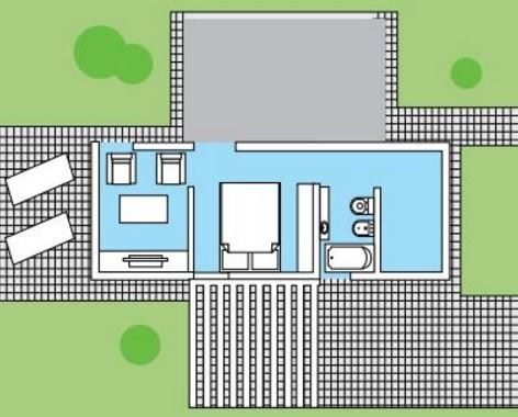 Modelo casa de 2 dormitorios con posible ampliación
