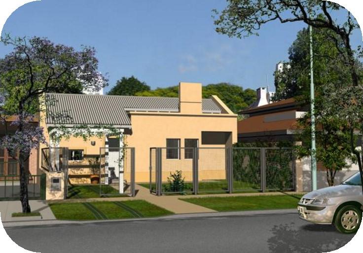 Modelo de casa con jardín frontal y rejas