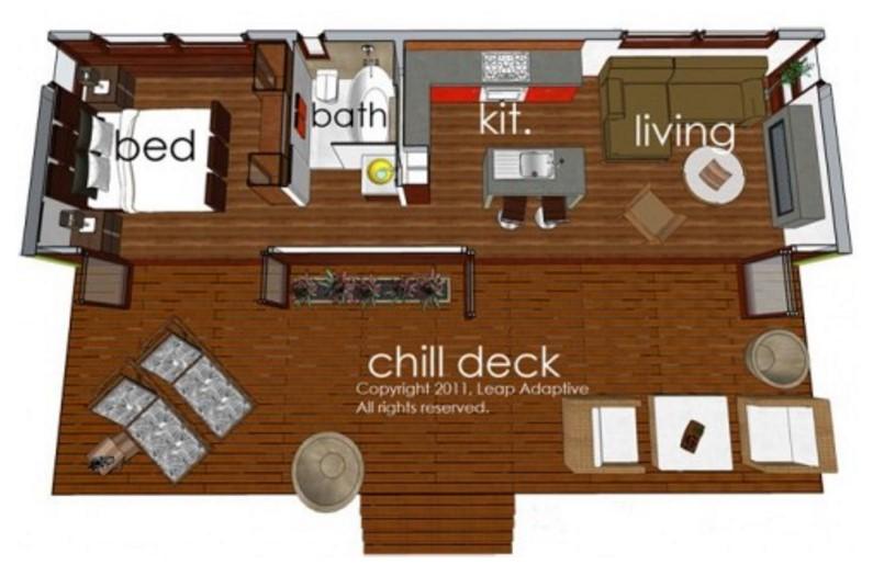 Modelo de casa elevada pequeña