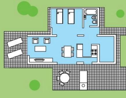 Modelo de casa moderna de 3 dormitorios construida en 2 pisos