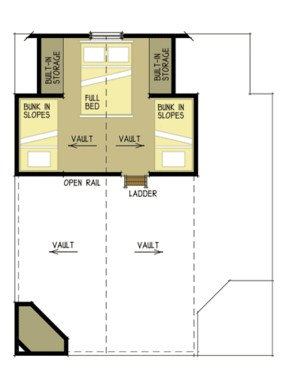 Plano de cabaña de dos dormitorios en dos pisos