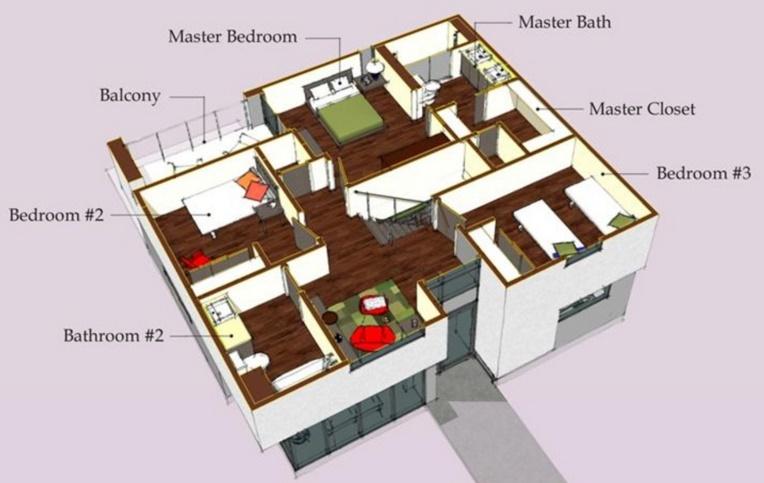 Plano de casa de 170 m2 for Planos de oficinas pequenas