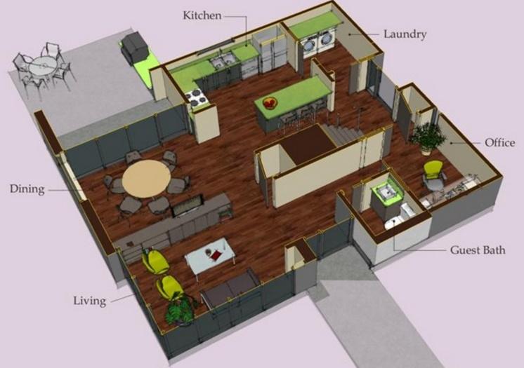Plano de casa alta de 170 metros cuadrados