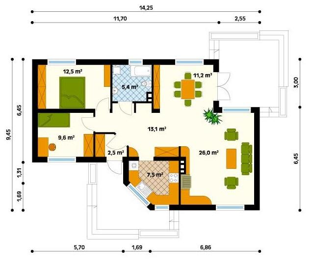 Plano de casa bonita de 2 dormitorios