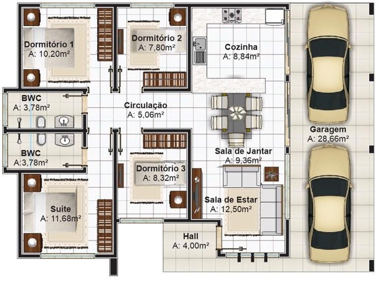 Plano de casa con cochera doble pasante for Habitaciones 3d gratis