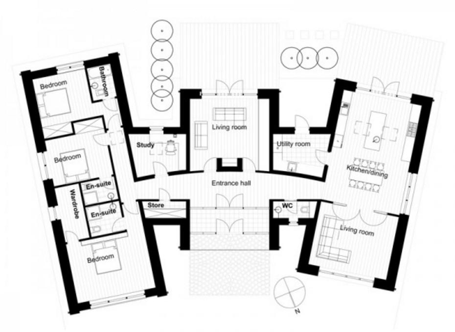 Plano de casa con cortes de un piso