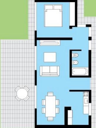 Plano de casa con jardín frontal y rejas