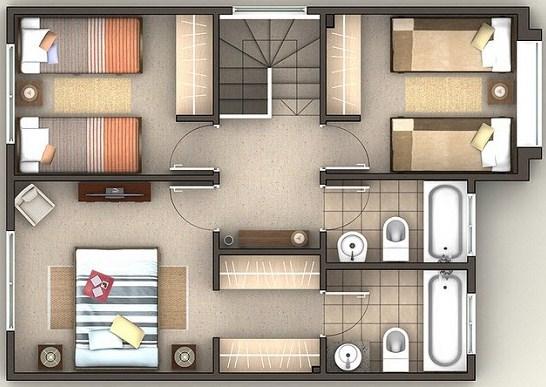 Baño En Planta Medidas: plantas, un bonito diseño de tres habitaciones y 2 baños en la