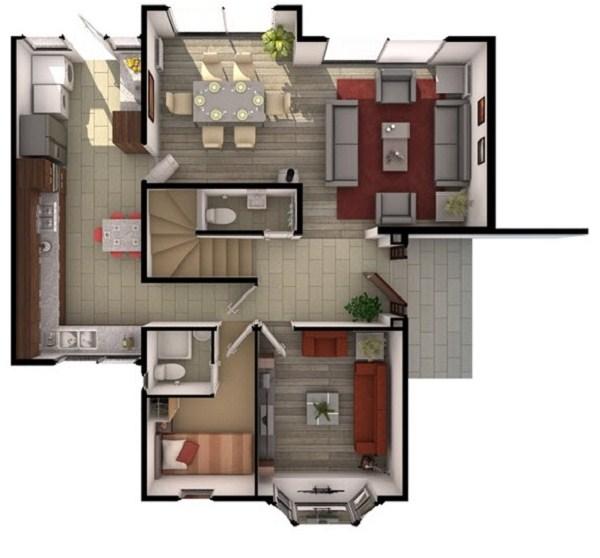Planos de casas de 3 pisos modernas for Plano casa un piso