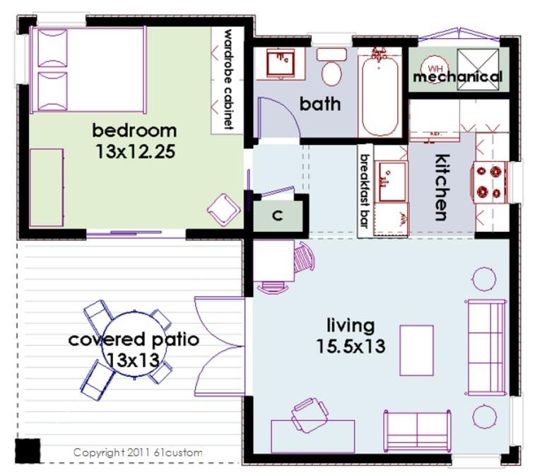 1 dormitorio planos y casas