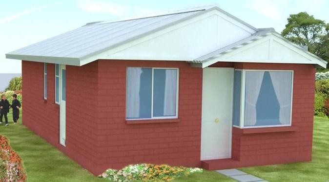 Plano de casa de 85m2 y 3 dormitorios
