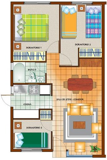 Plano de casa de 85m2