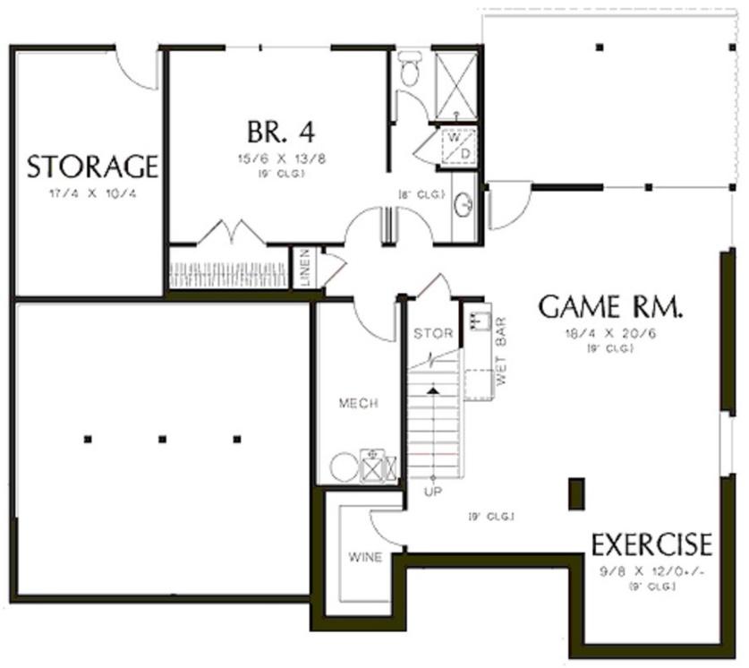Plano de casa grande de 370 metros cuadrados