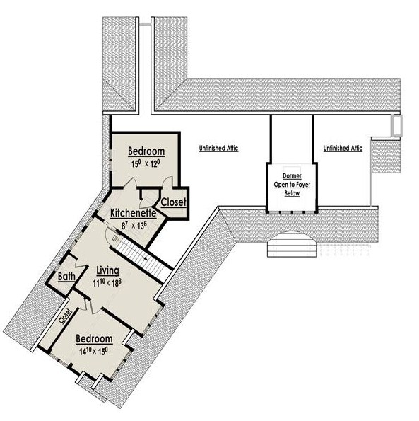 Plano de casa grande de dos pisos con dos cocinas