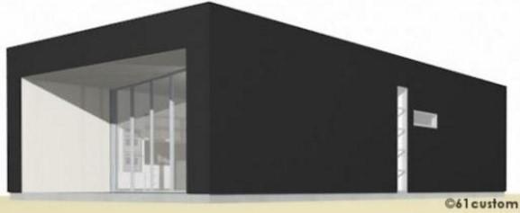 Plano de casa minimalista con 1 dormitorio y vidrios