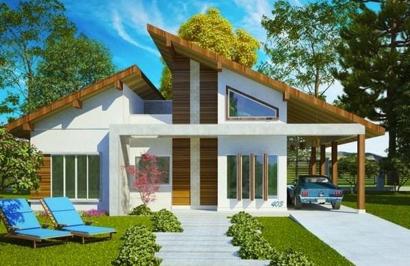 Plano de casa moderna con cohera pasante doble