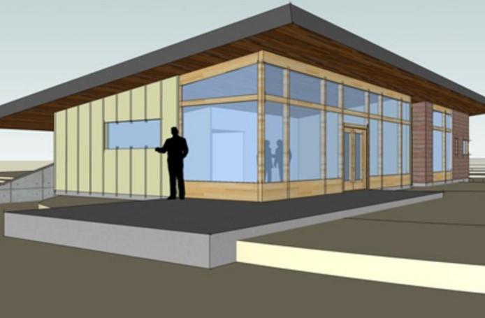 Plano de casa parcialmente vidriada con 3 dormitorios