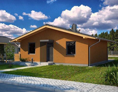 Plano de casa pequeña de 2 habitaciones en un piso