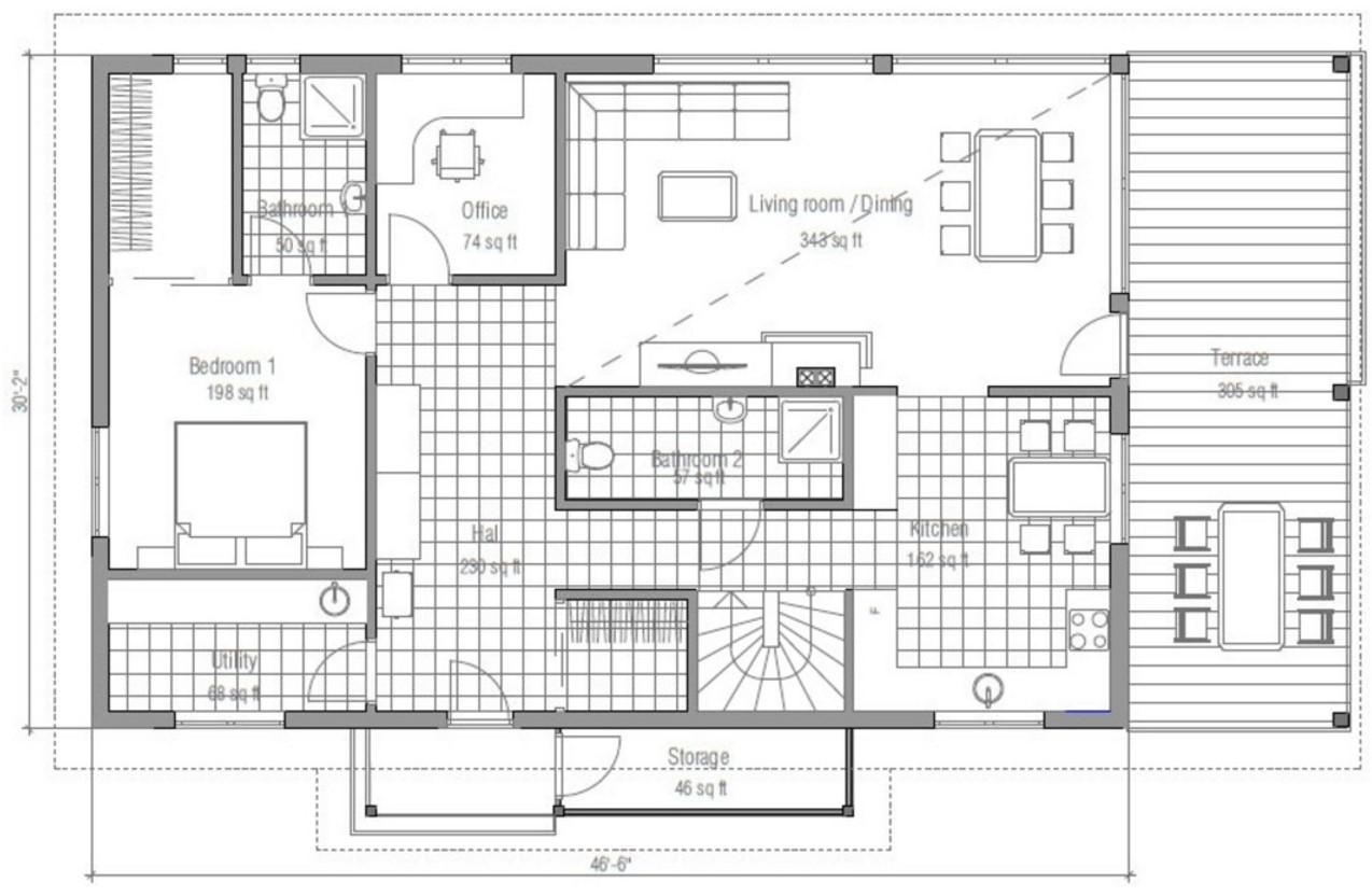 Modelo De Casa Revestida En Madera Con 4 Dormitorios