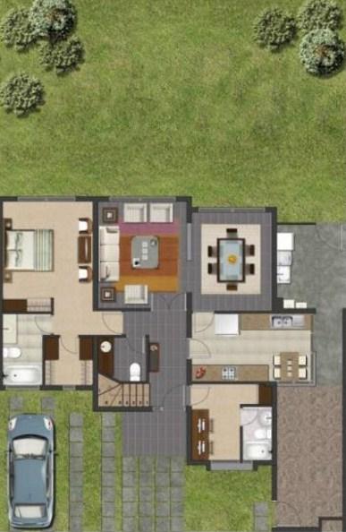 Plano de casa simple de 3 dormitorios en 2 pisos