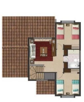 Plano de casa simple de 3 dormitorios y 2 pisos