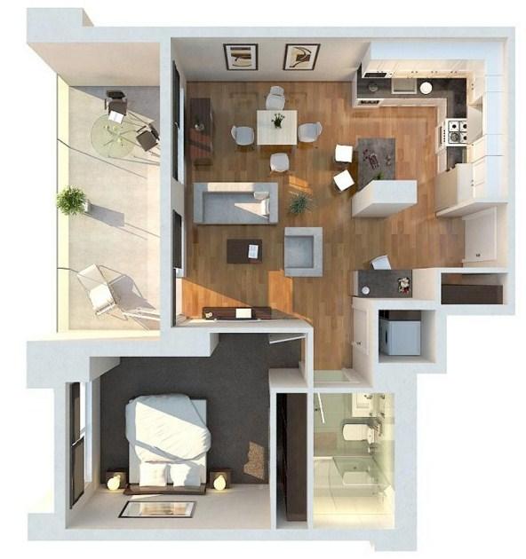 Plano de departamento con balcón