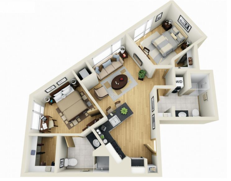 Plano de departamento moderno de 65 m2