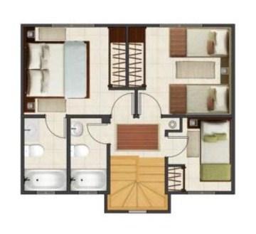 Plano de duplex economico de 3 dormitorios