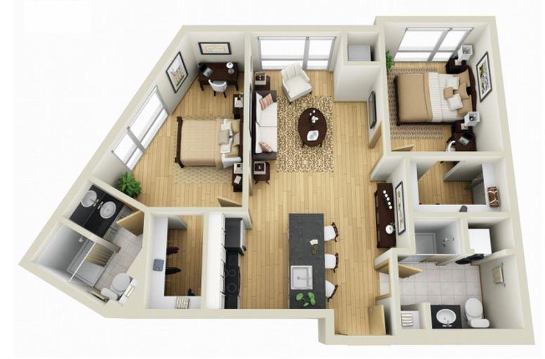 Planos de apartamentos pequeños de dos habitaciones