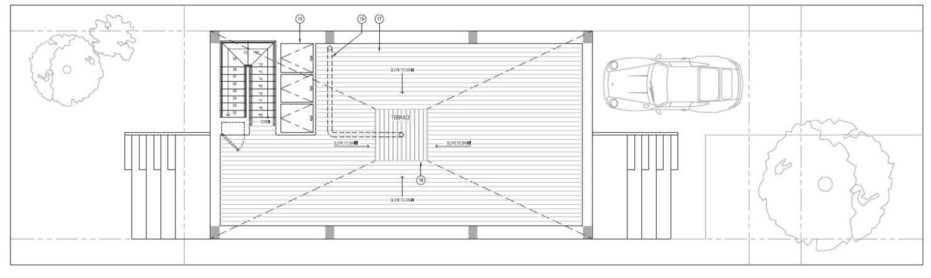 Plano de casa con terraza en el segundo piso for Planos para segundo piso