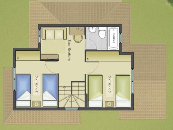 Planos de casas de 2 pisos y 3 dormitorios