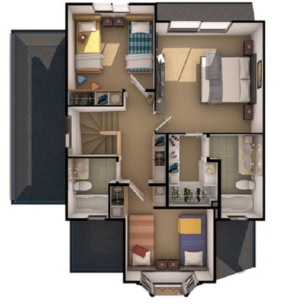 Plano de casa de 3 pisos for Planos de pisos de 3 dormitorios