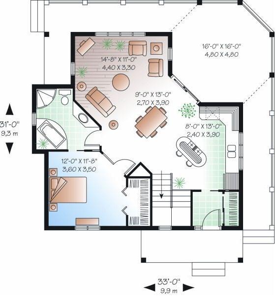 Planos de casas de dos niveles en declive