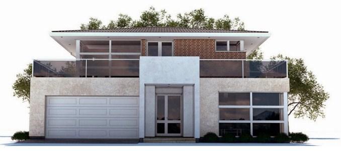 Plano de casa moderna de dos pisos con cochera for Planos de casas de 2 pisos
