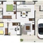 Planos de casas de un piso 2 dormitorios y garaje