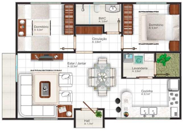 Plano de casa rectangulares de dos dormitorios for Modelos de casas de una sola planta