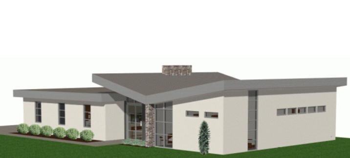 Plano de casa con pendiente en el techo for Materiales para techos de casas