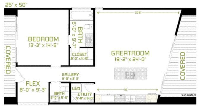 casa minimalista con 1 dormitorio y vidrios