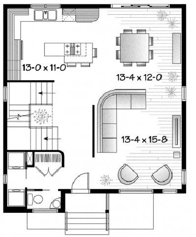 plano de casa de 2 plantas y 3 habitaciones