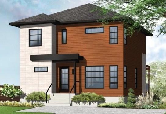 plano de casa moderna de 2 pisos con 3 habitaciones